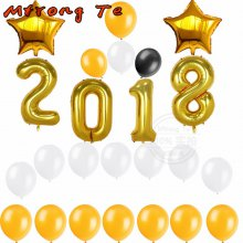 24pcs 40inch Gold Number 2018 Foil Helium Balloons Happy New Year Decoration Celebration 2018 aluminum balloons