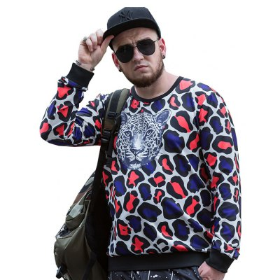 Round Neck Large Size New products gadgets Young Leopard Head Printing Men'S SweatshirtPCW70063C