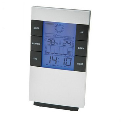 Household Electronic Temperature and Humidity Meter with Backlit Weather Forecast Time Clock