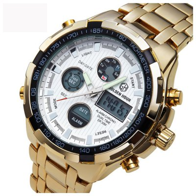 Watches Men Luxury Brand AMUDA Gold Golden Watches Men Sports Quartz-Watch Dual Time Relogio Masculino