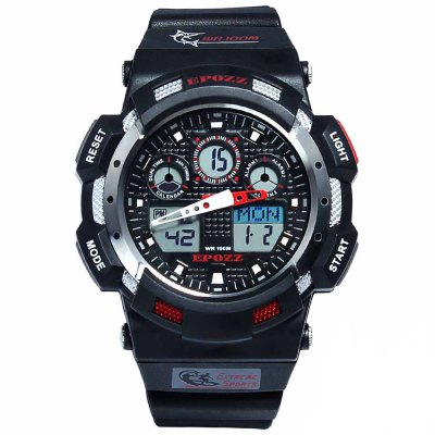 EPOZZ 3001 Dual Display Watch 100M Waterproof Men Watch Alarm Clock Stop Watch