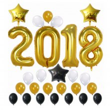 Christmas Decorations Happy New Year Banner Decorations Gold 2018 Balloons Gold Stars Decorations