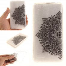 Cover Case for Lenovo K5 Black Half Flower Soft Clear IMD TPU Phone Casing Mobile Smartphone