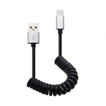 18CM Spring Coiled Retractable USB A Male To Type-C Data Charging Cable