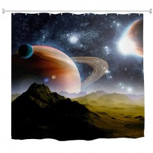 Polyester Shower Curtain Bathroom Curtain High Definition 3D Printing Water-Proof Anti-Mold Multiple Sizes Available