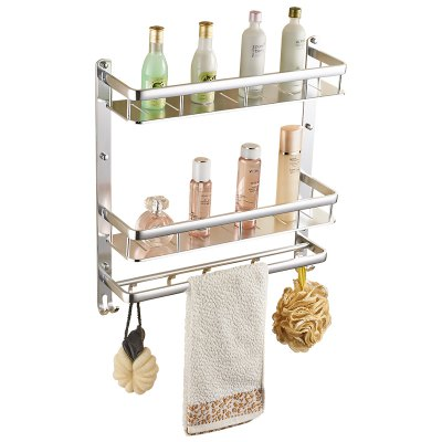 Space Aluminum Wall-mounted Bathroom or Kitchen Storage Double Pole Double Shelf