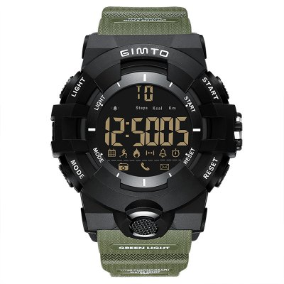 GIMTO Cool Outdoor Sport Smart Watch Men Digital LED Stopwatch Bluetooth Shock Army Electronic Watch Waterproof Pedomete