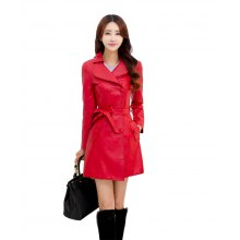 Women's Fashion Trim Leather Trench Coat