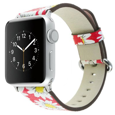 For 38MM iWatch Series 3/2/1 Chrysanthemum Pattern Genuine Leather Strap Flower Design Wrist Watch Bracelet