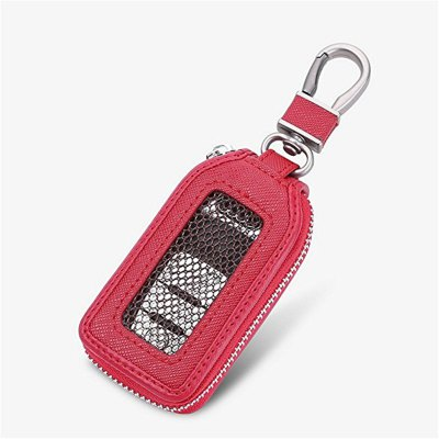 Car Premium Leather Key Chain Coin Holder Keyring Hook Wallet Zipper Case Remote Smart Fob Alarm Security