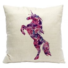 Cartoon Unicorn Car Living Room Sofa Bedroom Cushion Concealed Zipper Pillow Case