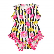 SOSOCOER Newborn Infant Girls Bodysuits The 2018 Summer Fringe Flower Hair Ball Romper