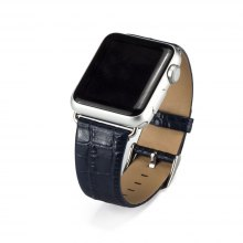 Crocodile Pattern Leather iWatch Band Strap Bracelet Replacement Wristband with Secure Metal Clasp Buckle for Apple Watc