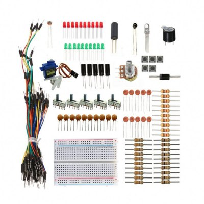 Sidekick Basic Starter Kit / Breadboard Jumper Wires Color Led Resistors Buzzer for Arduino UNO R3