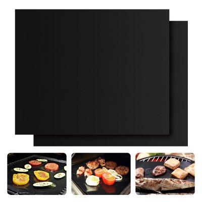 Heavy-duty Non-stick PTFE BBQ Grill Mat Oven Liner Reusable and Refractory Barbecue Grilling and Baking Pads 2-Pack