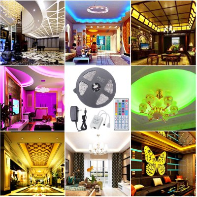 HML 5M 72W 5050 RGB LED Strip Light with 44 Keys Remote Control And US Power Adapter