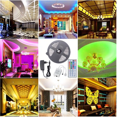 HML 5M Waterproof 72W 5050 RGB LED Strip Light with 44 Keys Remote Control And EU Power Adapter