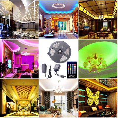 HML 5M 72W 5050 RGB LED Strip Light with 20 Keys Music Remote Control And US Power Adapter