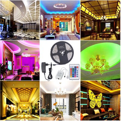 HML 5M Waterproof 72W 5050 RGB LED Strip Light with 24 Keys Remote Control And EU Power Adapter