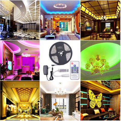 HML 5M Waterproof 72W 5050 RGB LED Strip Light with RF 10 Keys Remote Control And US Power Adapter
