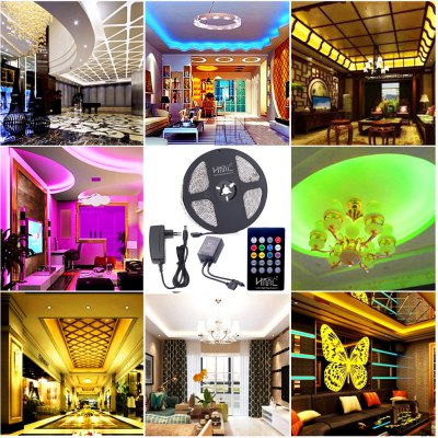 HML 5M Waterproof 72W 5050 RGB LED Strip Light with 20 Keys Music Remote Control And EU Power Adapter
