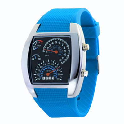 Student Rubber Band Men Sport Speedometer Dot Matrix Date Strap Stylish Display Watch