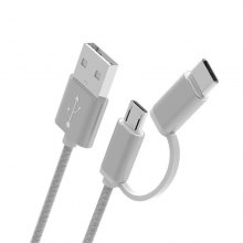 Multifunction 1M 2 in1 Type-C Micro USB Cable Mobile Phone Charging Cable Combo Sync Charger