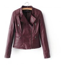 Casual PU Leather Jacket Classic Zipper Short Motorcycle Autumn Soft Leather Coat
