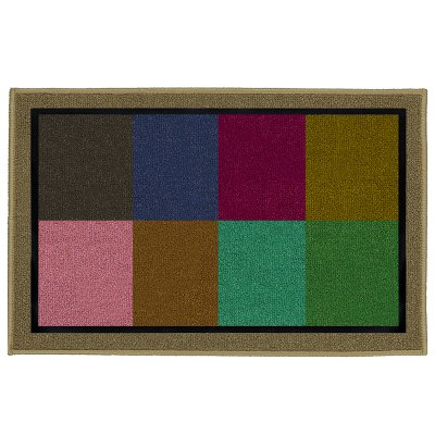 Color Grid Flannel All Room With Water Absorbent Carpet Mats
