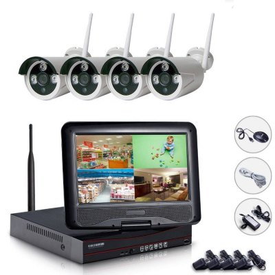 NH96004 WiFi 4CH NVR Kit CCTV System 10.1 Inch Screen Monitor 960P Wireless IP Camera Security Alarm