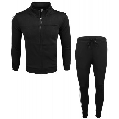 Men's Wear Spring and Autumn Wear and Fashion Leisure Sports Outdoor Fitness Stand Long Sleeve Coat Trousers Two Suits