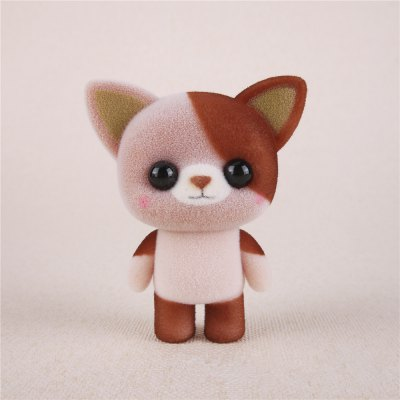 Mini Lovely Flocking Brown Cat Doll Furnishing Articles Kids Gift