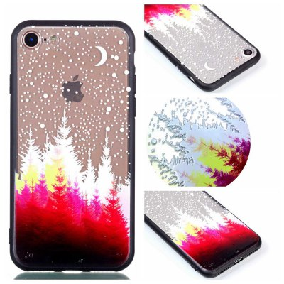 for Iphone 8 Relievo Red Forest Soft Clear TPU Phone Casing Mobile Smartphone Cover Shell Case