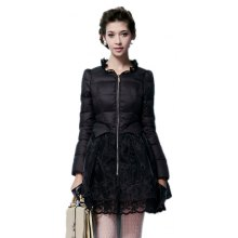 Lace Gored Slim Luxury Down Feather Long Thickening Coat