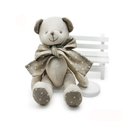 Baby Doll Beige Cotton Linen Plush Toy with Bear Style
