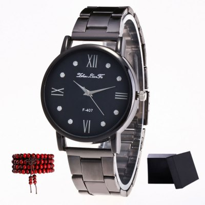 ZhouLianFa New products gadgets Black Steel Black Quartz Watch with Matching Box and Beads