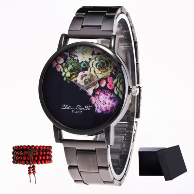 ZhouLianFa New products gadgets Black Strip Peony Figure Quartz Watch with Gift Box and Beads