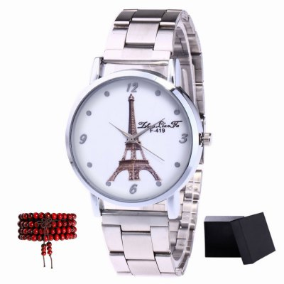 ZhouLianFa New products gadgets Silver Steel Tower Tower Quartz Watch with Beads