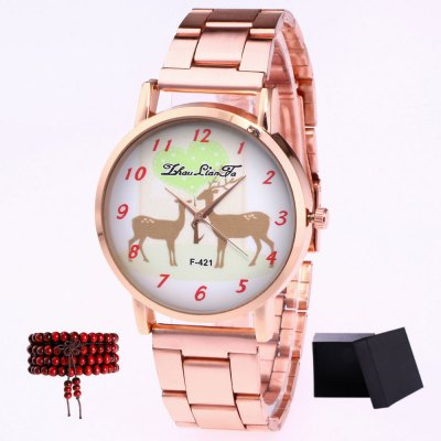 ZhouLianFa Top Brand Rose Gold Band Creative Deer Pattern Quartz Watch with Gift Box and Beads
