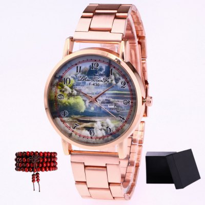 ZhouLianFa New products gadgets Rose Gold Steel Landscape Map Quartz Table with Gift Box and Beads