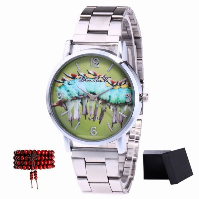 ZhouLianFa New products gadgets Silver Strip Group Bird Figure Quartz Watch with Gift Box and Beads