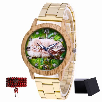ZhouLianFa New products gadgets Gold Color Steel Sparrow Figure Quartz Watch with Gift Box and Beads