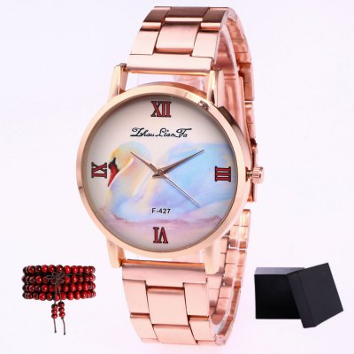 ZhouLianFa New products gadgets Rose Gold Band Swan Figure Quartz Watch with Gift Box and Beads
