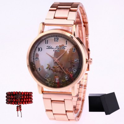 ZhouLianFa New products gadgets Rose Gold Strip Mountain Figure Quartz Watch with Gift Box and Beads