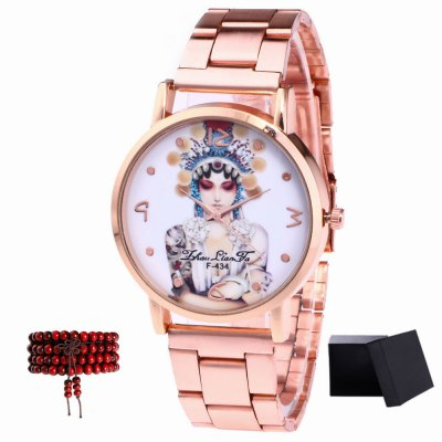 ZhouLianFa Top Brand Rose Gold Strip Creative Play Female Pattern Quartz Watch with Gift Box and Beads