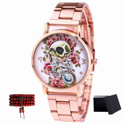ZhouLianFa Top Brand Rose Gold Strip Creative Skull Pattern Quartz Watch with Gift Box and Beads