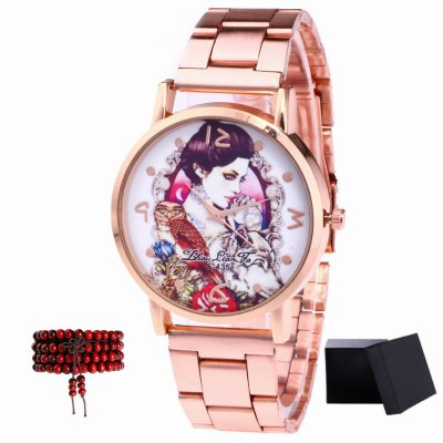ZhouLianFa New products gadgets Rose Gold Strip Princess Figure Quartz Watch with Gift Box and Beads