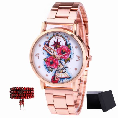 ZhouLianFa New products gadgets Rose Gold Strip Flower Basket Quartz Watch with Gift Box and Beads