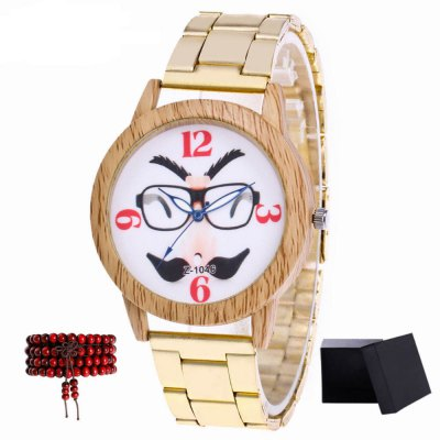 ZhouLianFa New products gadgets Models Gold Band Beard and Tuxedo Pattern Luxury Quartz Watch with Gift Box and Beads