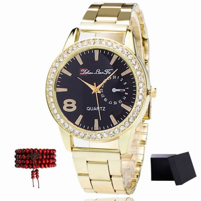 ZhouLianFa The New products gadgets Brand of Gold Band Diamond Ladies Luxury Quartz Watch with Gift Box and Beads